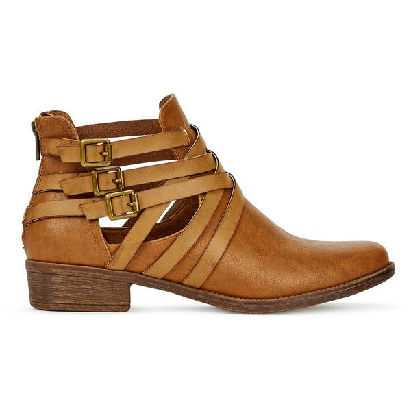 ShoeDazzle Booties Jac Womens Brown ❤ liked on Polyvore featuring shoes,  boots, ankle booties