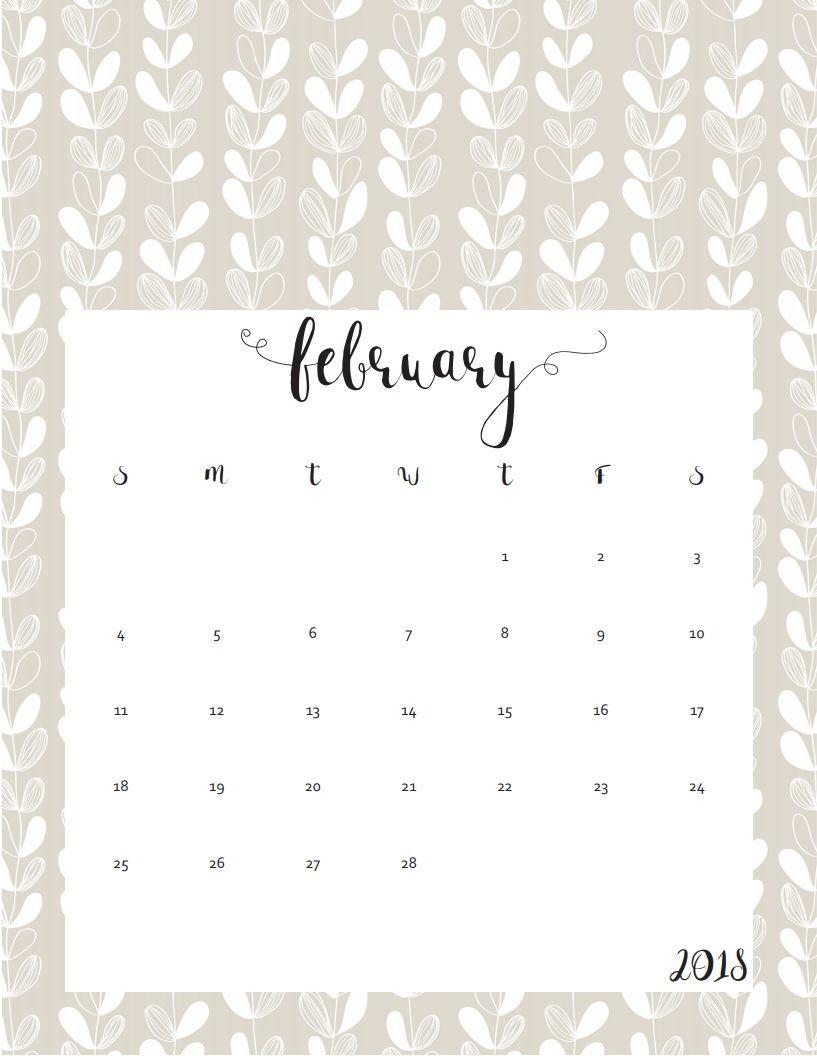 Cute Calendar February 2018 : Free printable cute february calendar maxcalendars