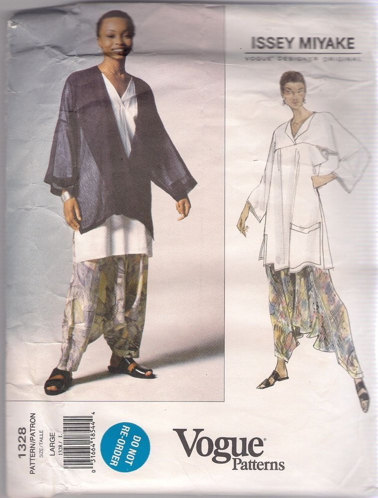 Vogue Sewing Pattern 1328, Issey Miyake Jacket, Top, Pants, Size 16 ...