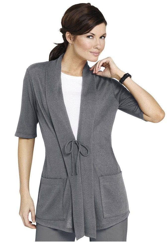 NrG by Barco stretch knit tie-front cardigan style scrub jacket.