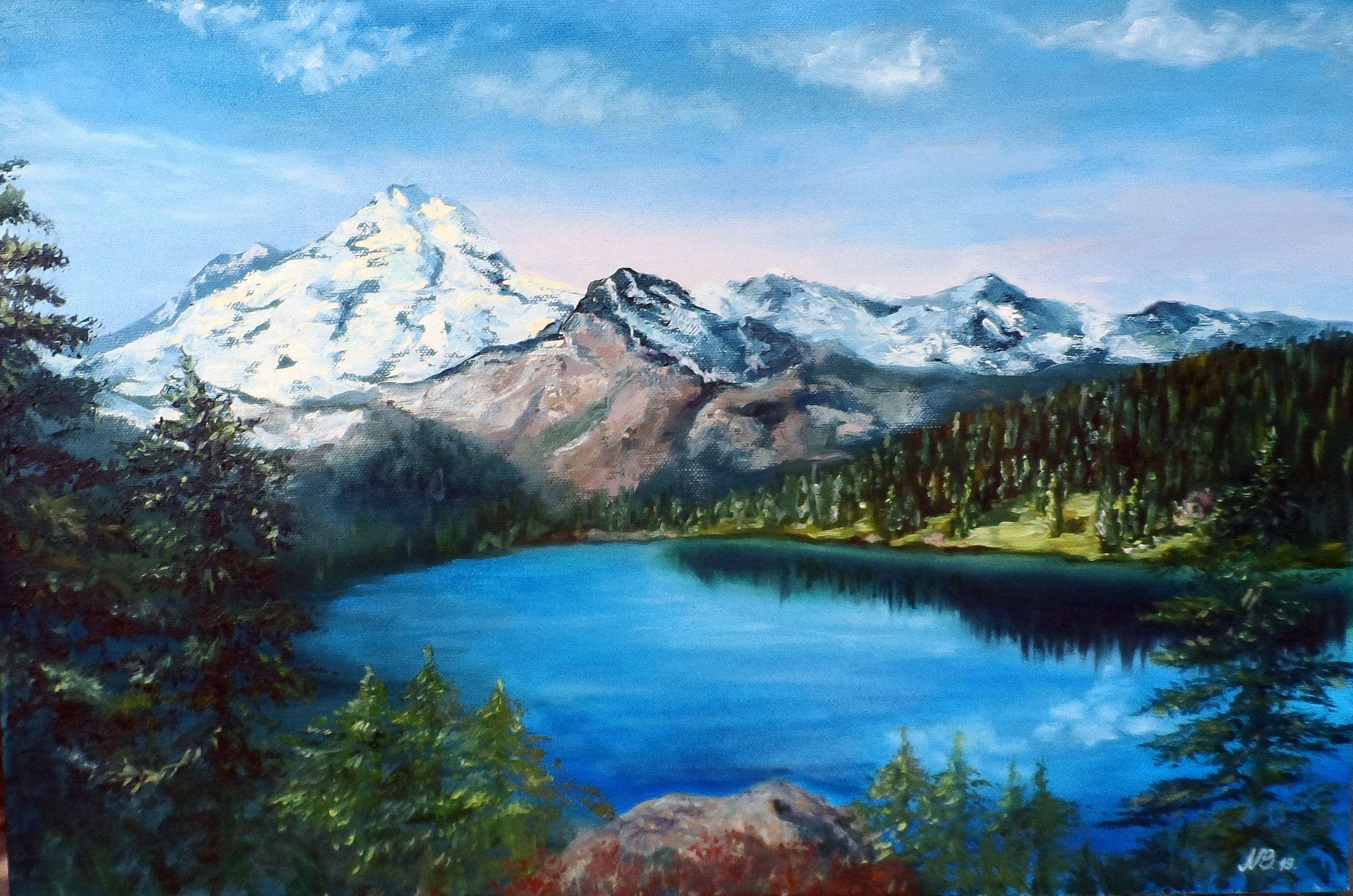 Mountain Lake Oil Painting Landscape Wall Art Nature Painting Snow Mountain Art 16 By 24 Kartiny Maslom Kartiny