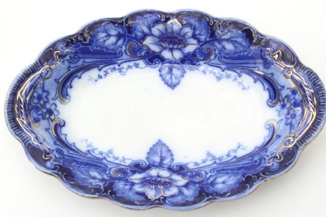 Johnson Bros Argyle flow blue, antique blue & white china platter or mini tray