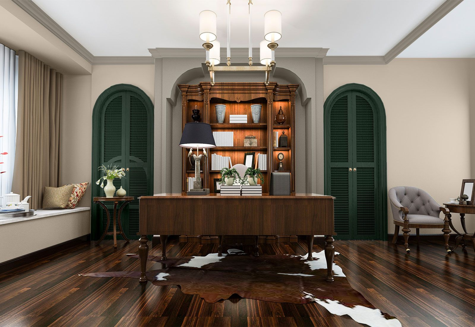 spacious office with dark wood floors and forest green on green office paint color id=83571