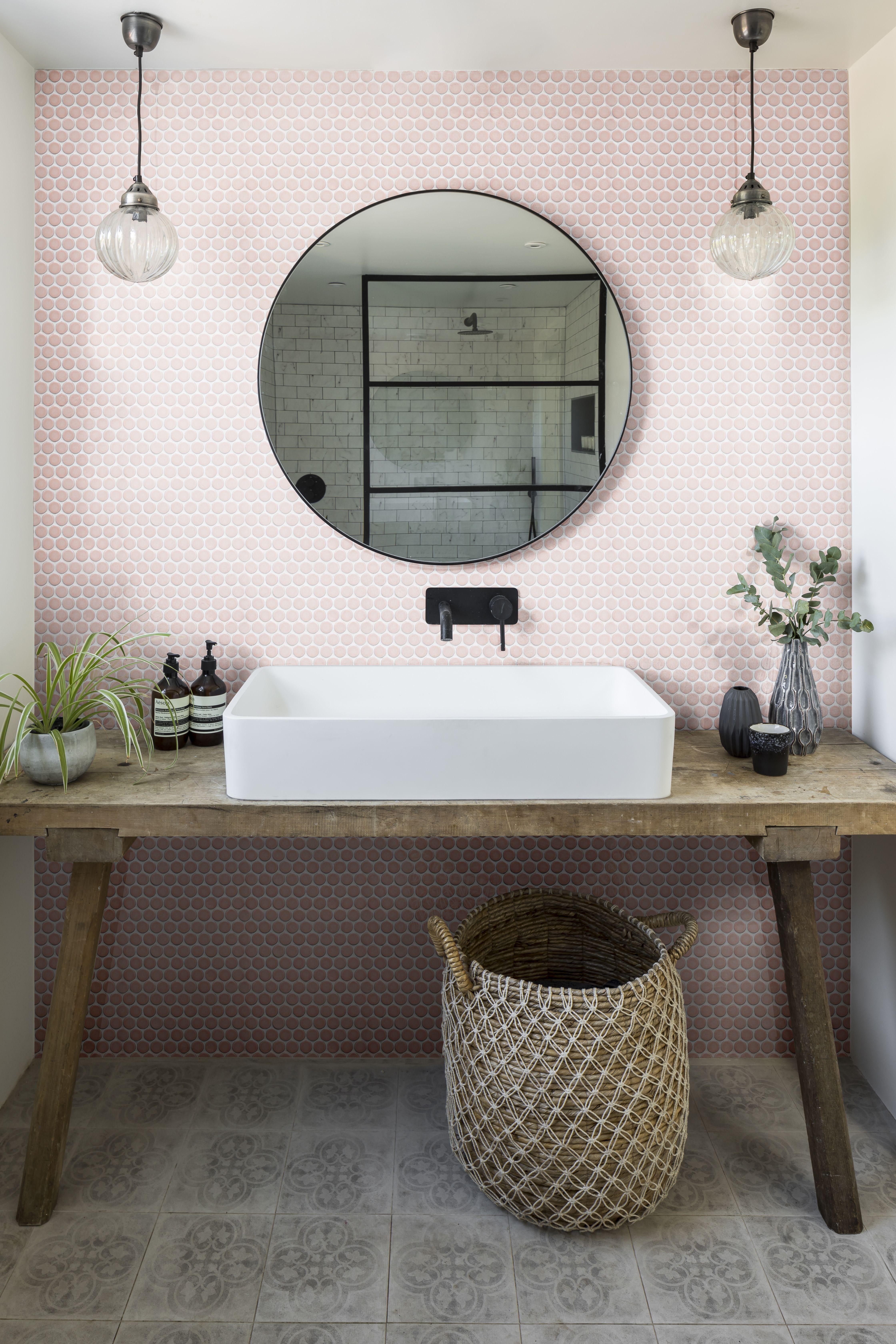 Yoga Penny Porcelain Mosaic Blush Tiles Ca Pietra Pink Bathroom Tiles Tile Bathroom Pink Bathroom