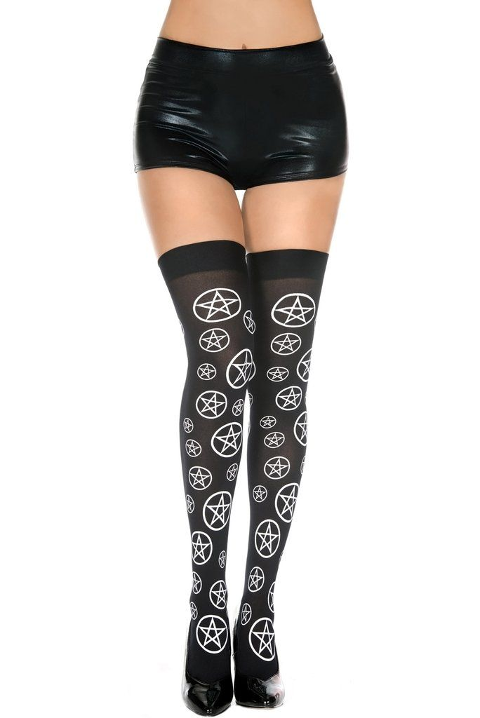 c3a92cbe5b22a Pentagram Black & White Opaque Thigh High! One Size Fits Most. 100% Nylon.  Design is all over in the front and back.