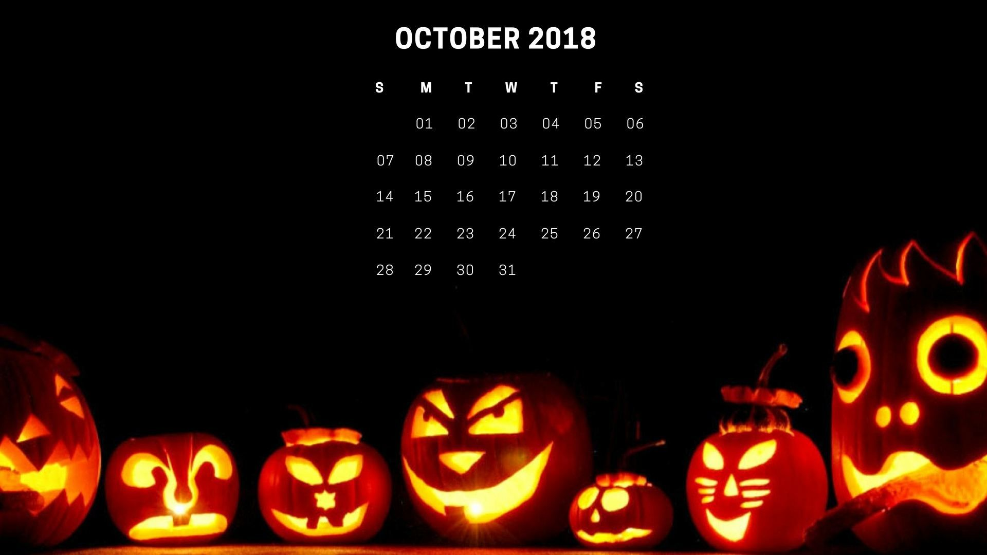 Happy Halloween October 2018 Calendar Wallpaper Calendar Wallpaper Holiday Wallpaper Halloween Wallpaper