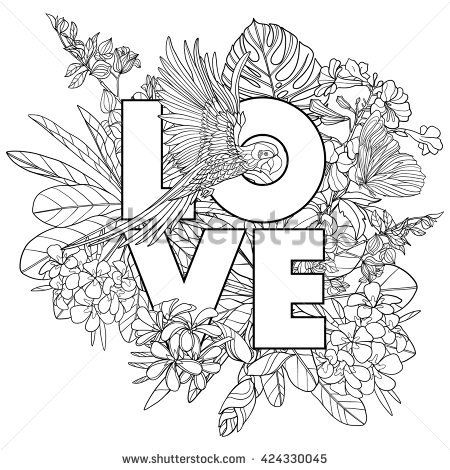 Adult coloring book. Coloring page with word \