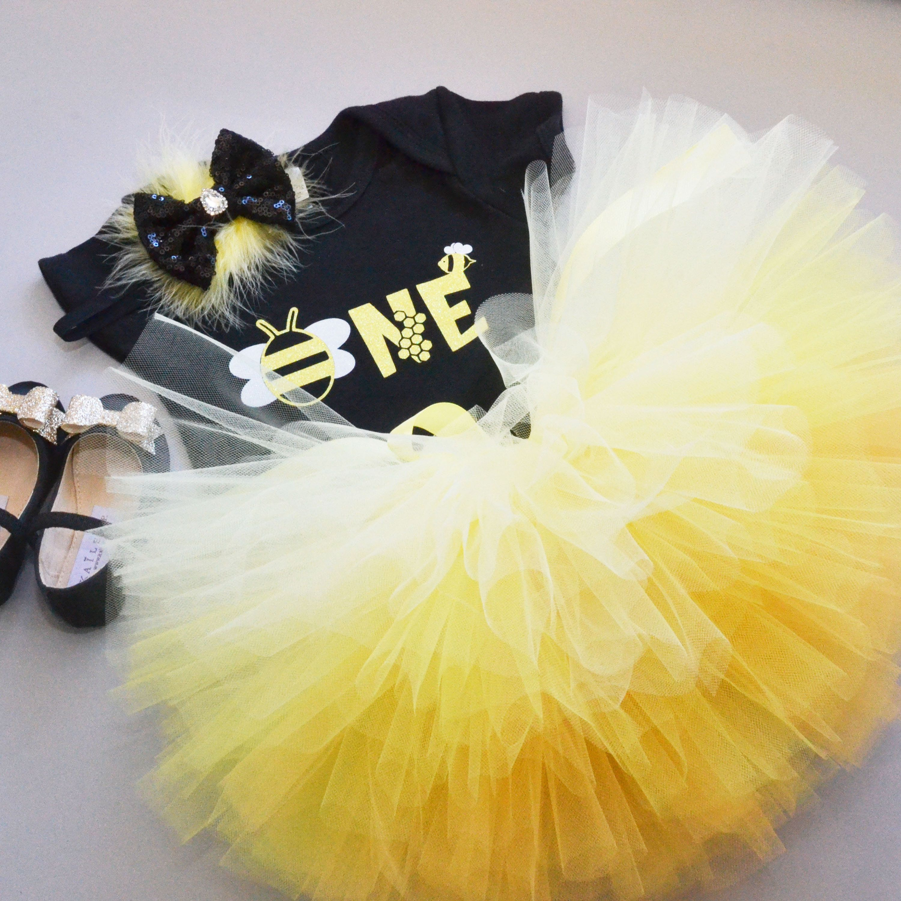 Bumble Bee Birthday Outfit Baby Girl 1st Birthday Outfit Little Hunny Party ANY AGE Light Yellow Gold Glitter
