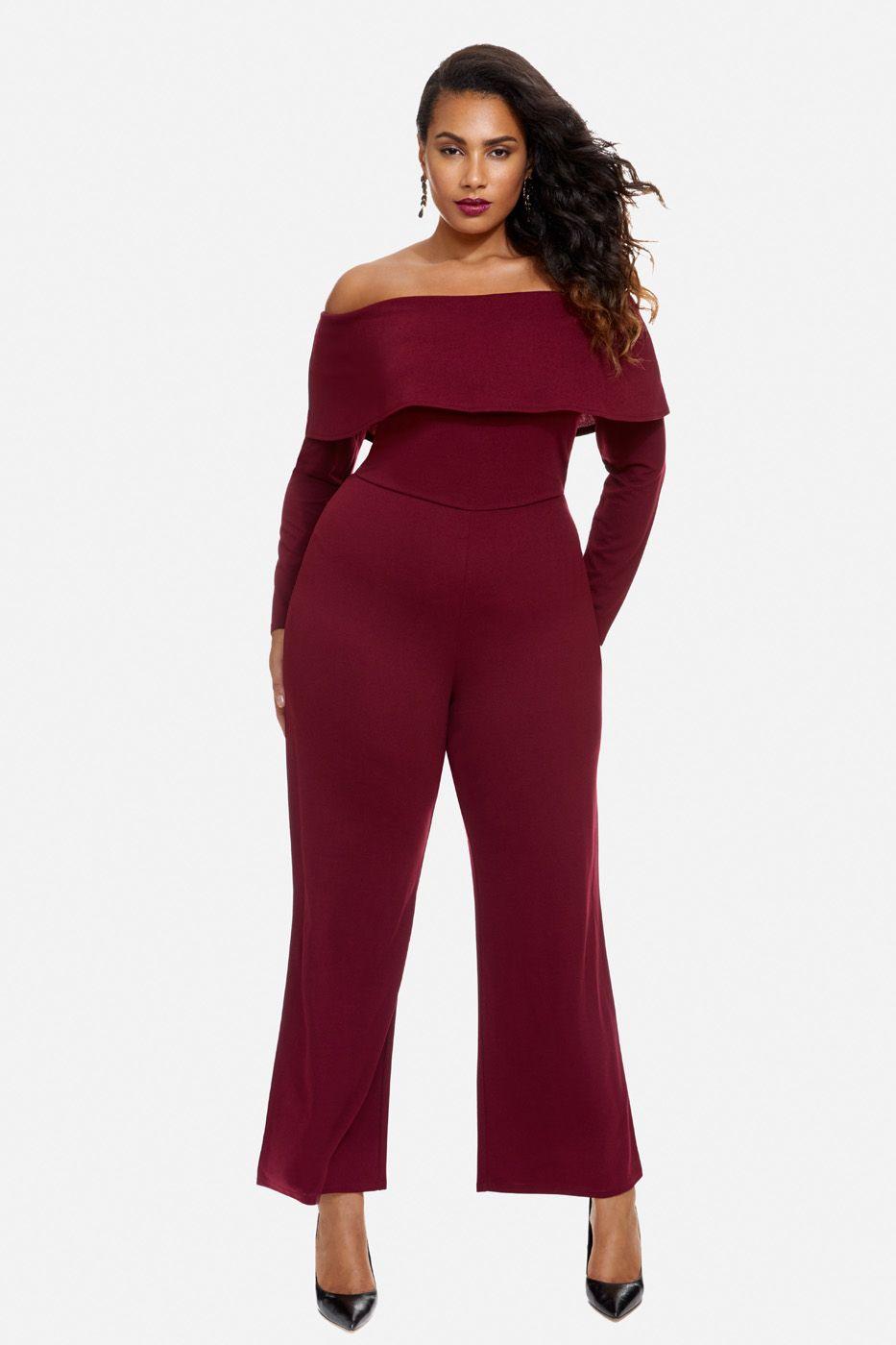 c6bee229db1 Plus Size Fall 2017 - Plus Size Off Shoulder Wide Leg Jumpsuit (curvy)