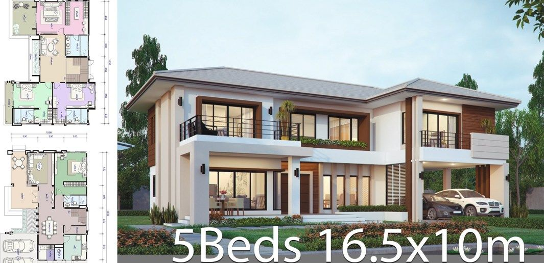 House Design Plan 16 5x10m With 5 Bedrooms Architectural House Plans Home Design Plans House Projects Architecture