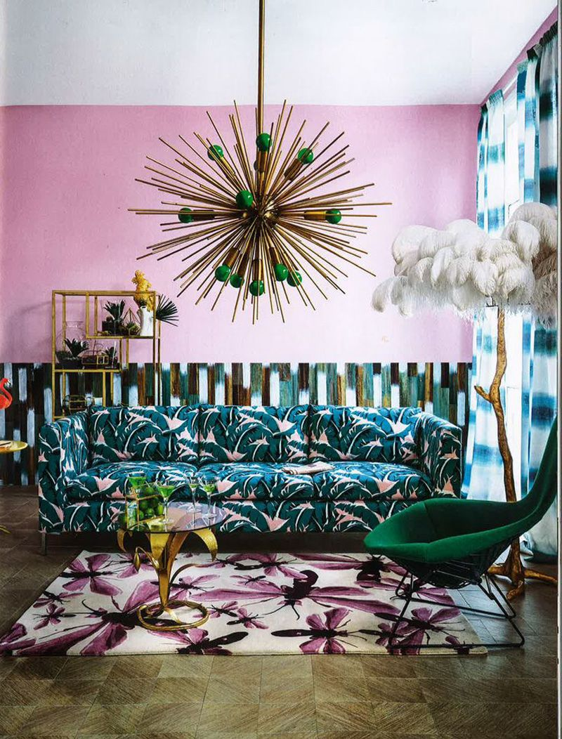 Living Etc green and pink living room front cover with brass sputnik ...