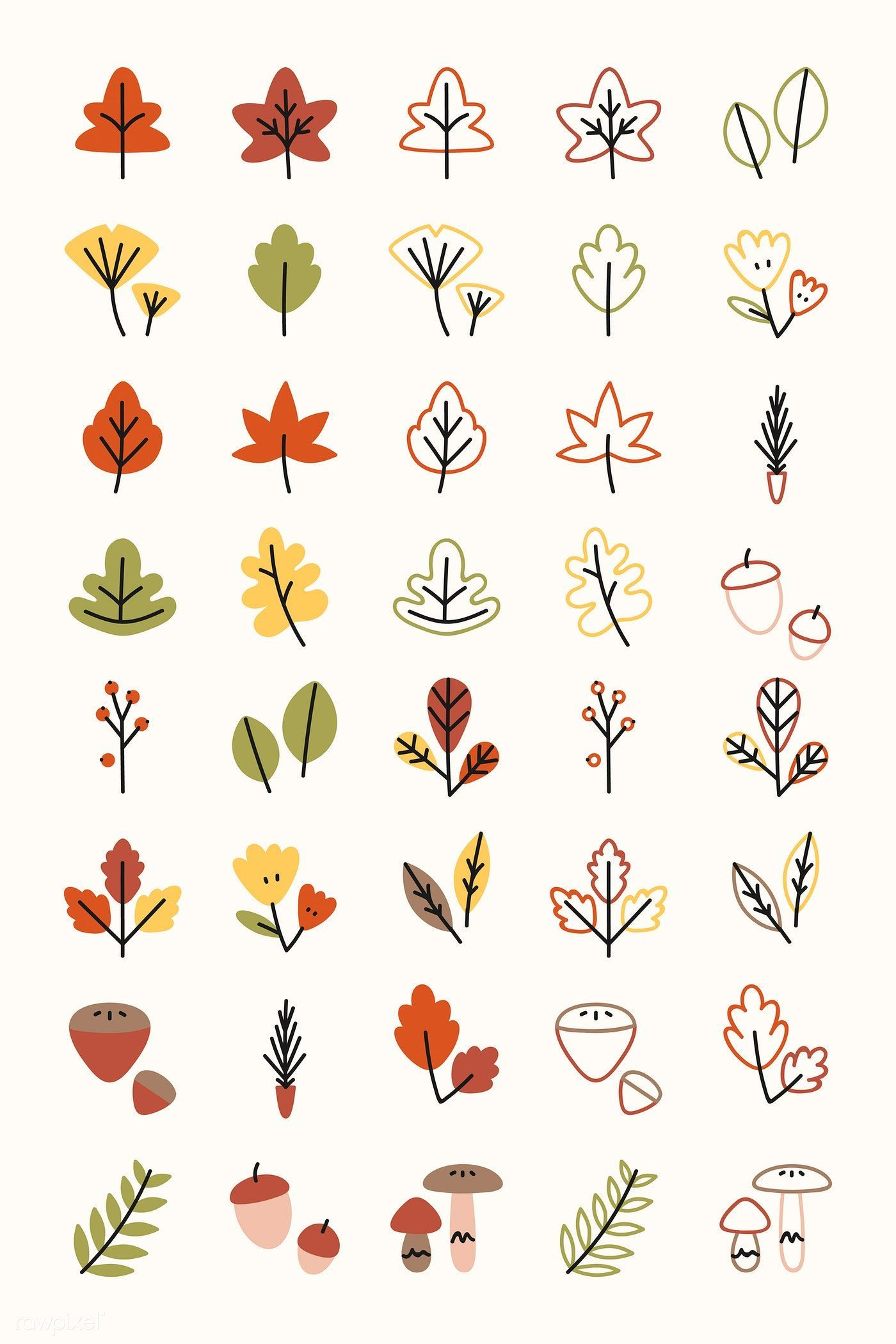 Colorful leaves drawing collection vector free image by