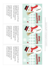 Snowman Soup Gift Tags Birds
