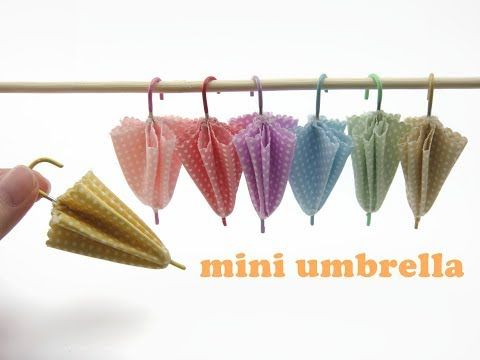 DIY Mini Doll Accessories Miniature Umbrella - YouTube #dollaccessories
