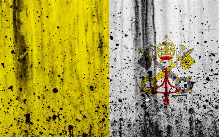 Hämta bilder Vatikanens flagga, 4K, grunge, flagga av Vatikanen, Europa, nationella symboler, Vatikanen, vapen av Vatikanen