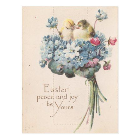 Adorable Vintage Easter Birds and Flowers Postcard - click to get yours right now!