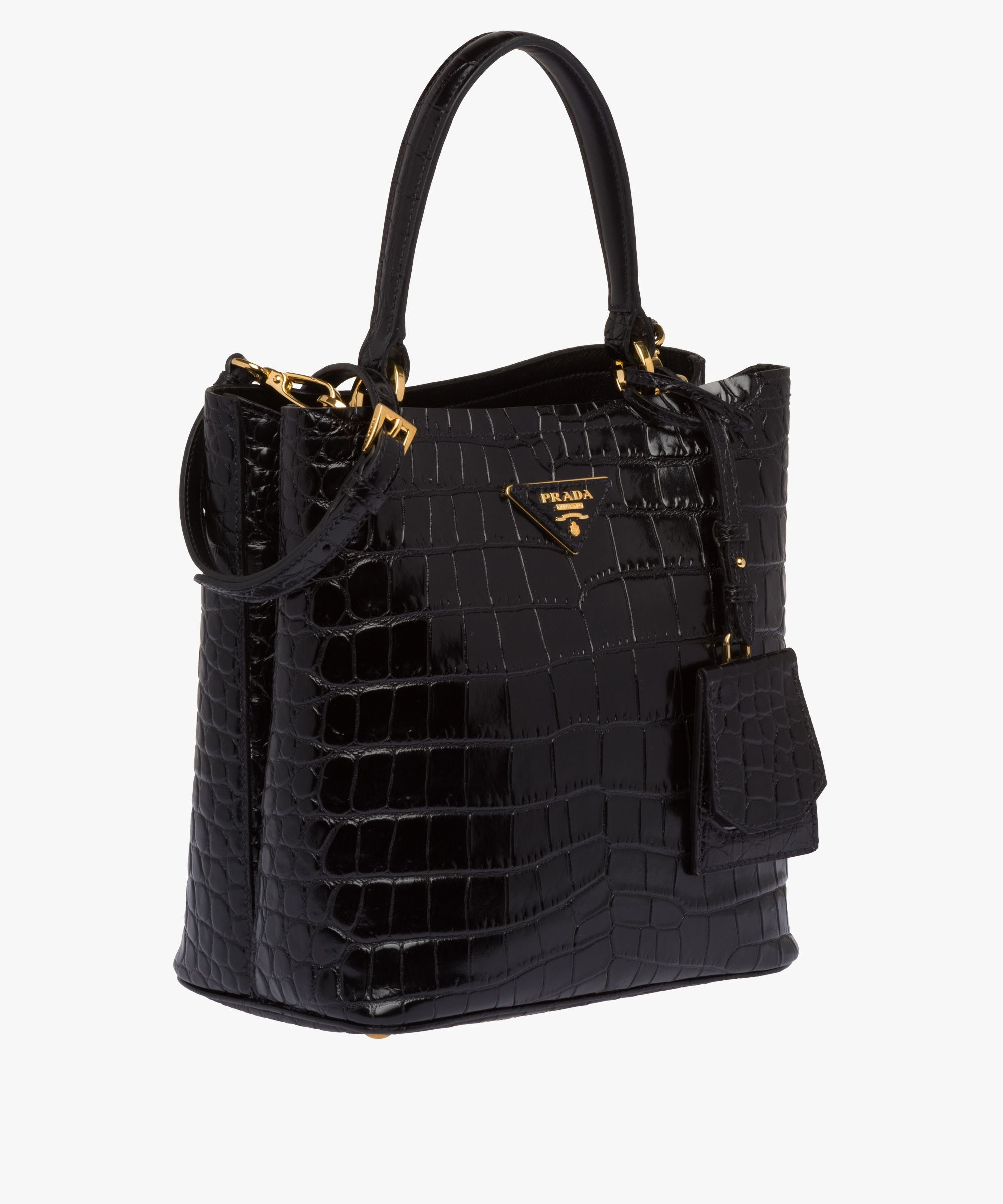 ac9c4df78866 Prada - Double black crocodile leather bag