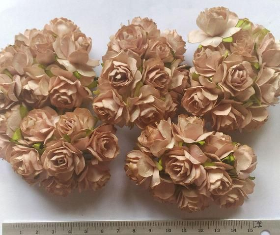 Big Size 50 Light Brown Color Big Mulberry Roses Paper Flowers