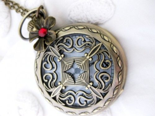 Steampunk  Time View From A Victorian Palace Window Cross Pocket Watch