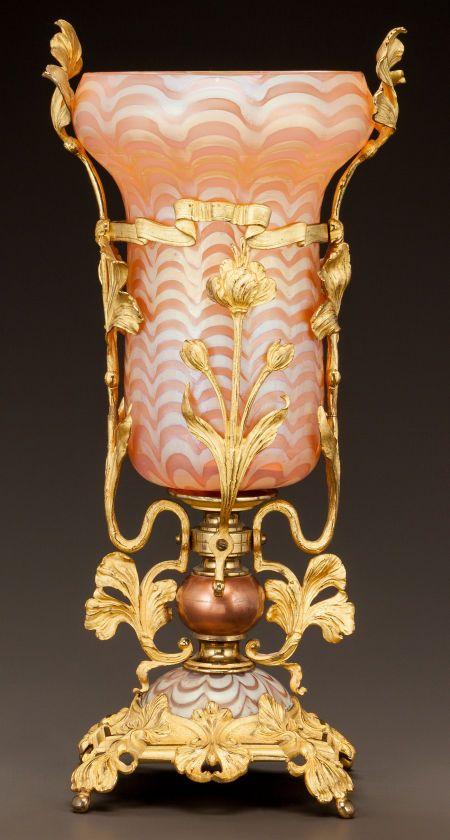 Art Glass:Other , AUSTRIAN ART NOUVEAU GLASS AND GILT METAL VASE. Circa 1900.. Ht.14-5/8 in.. ... AUSTRIAN ART NOUVEAU GLASS AND GILT METAL VASE Circa 1900. Ht. 14-5/8 in. Estimate: $1,500 - $2,500   JV