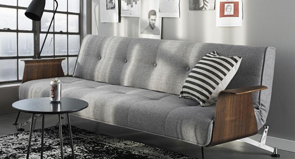 Grey Fabric Walnut Armrest And Chrome Base