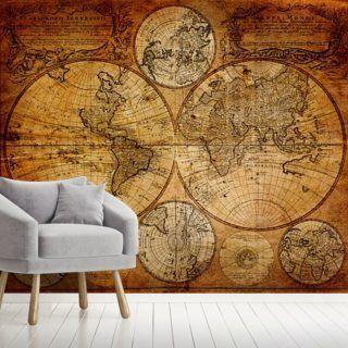 Old Globe Map 1746 #worldmapmural World Map Wallpaper & Wall Murals | Wallsauce CA #worldmapmural