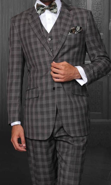 Clothing, Shoes, Accessories Reasonable Apollo King Classic Fit Charcoal Gray Glen Plaid Two Button Pleated Wool Suit
