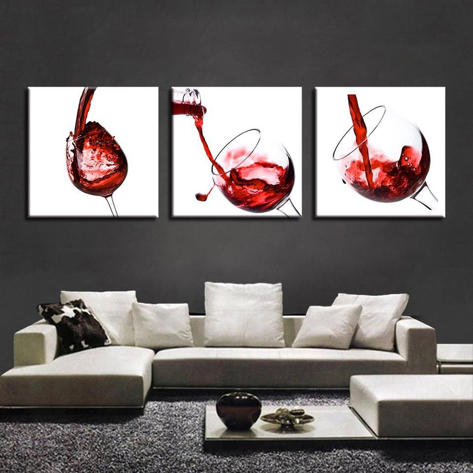 Painting Living Room Wall Art Pictures 3 Piece Delicate Red Wine Glasses Poster Canvas Frames Modular Printed Cuadros Decoration Wine And Canvas Customized Canvas Art Wine Print