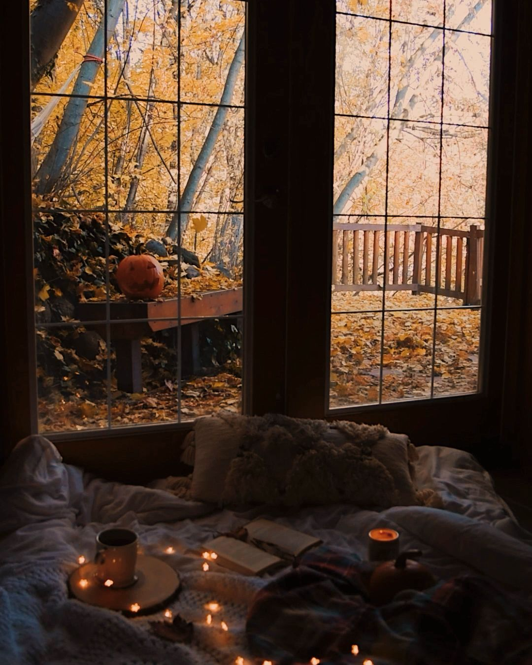 Fall Autumn Aesthetic Leaves October Cozy Candle