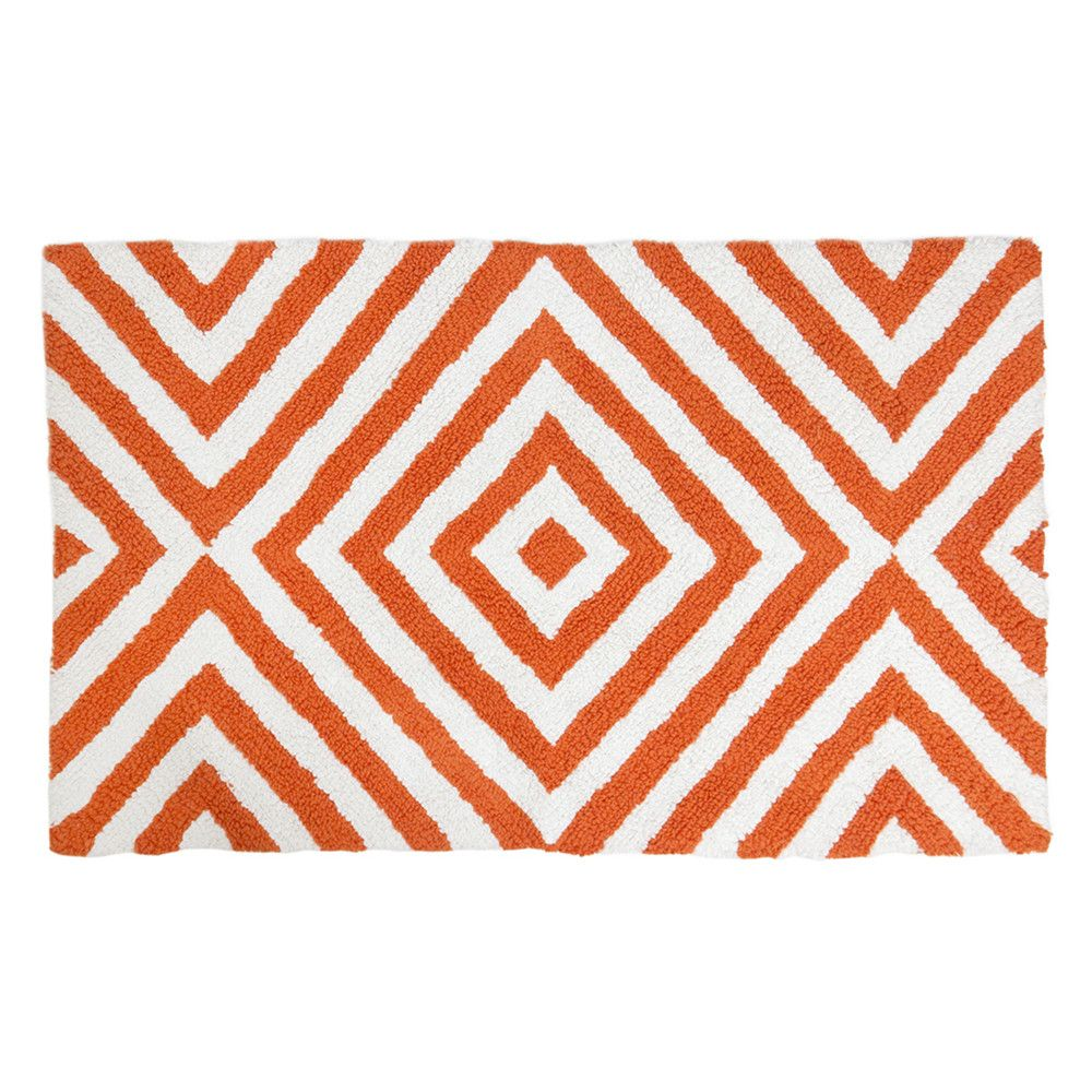arcade orange & white bath rug from jonathan adler | moving to the