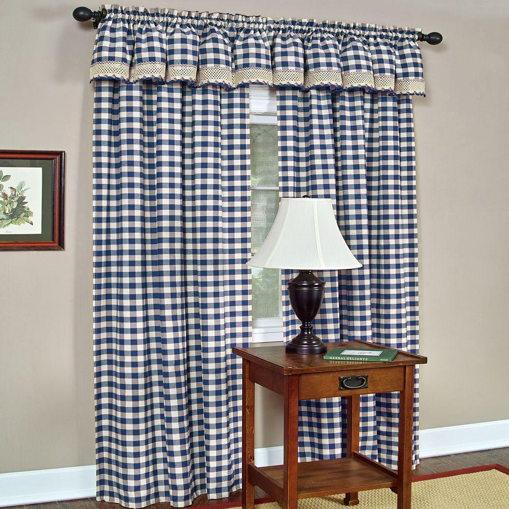 Achim Semi Opaque Buffalo Check Navy Poly Cotton Window Curtain