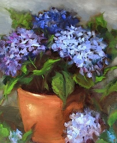 Blue Muse Hydrangeas By Artist Nancy Medina On Dailypainters Com Flower Canvas Art Hydrangea Painting Flower Painting