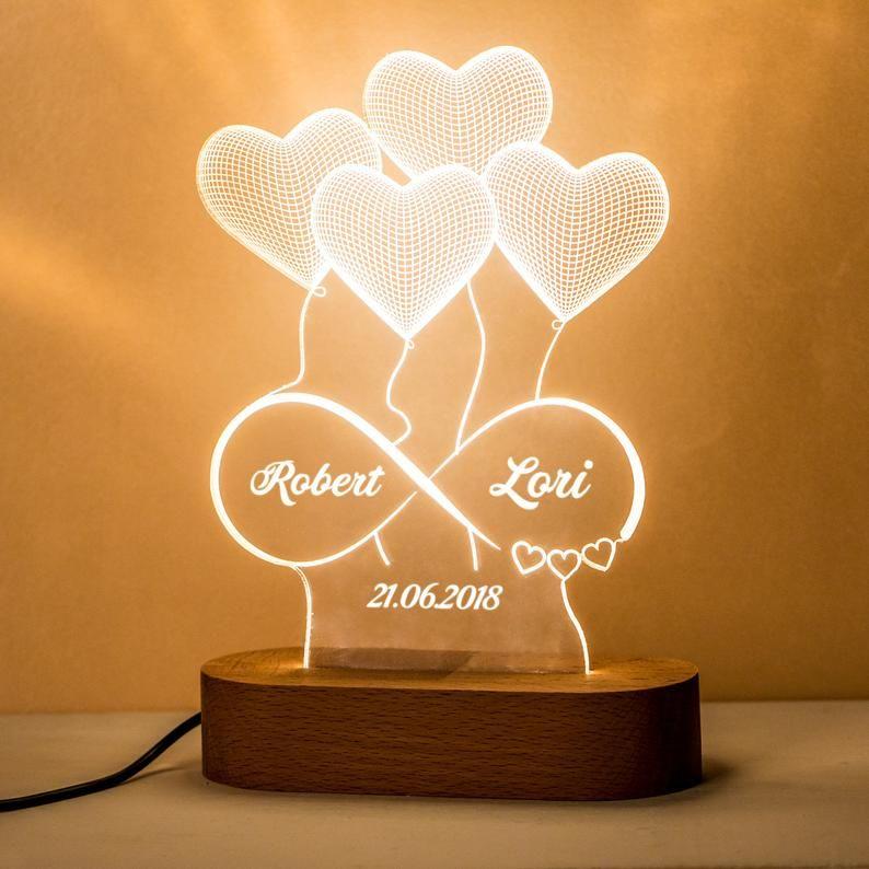 Cadeau Personnalise De Lampe 3d Dillusion Pour Elle Cadeau Etsy In 2020 3d Illusion Lamp Illusions 3d Illusions