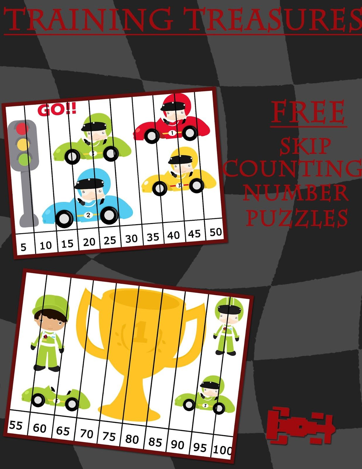 Training Treasures: FREE Race Car Counting By 5u0027s Number Puzzles!