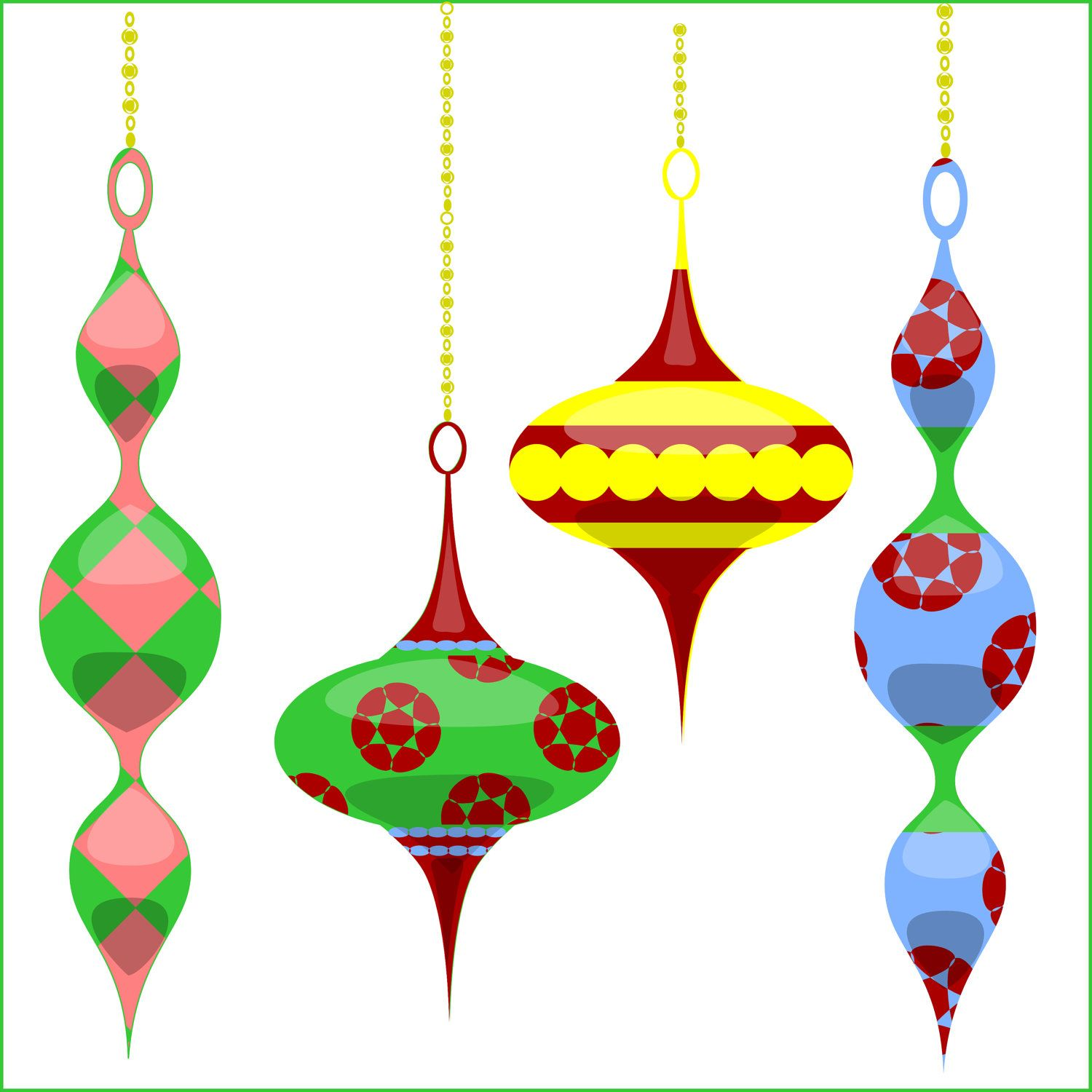 Christmas Clipart Christmas Tree Ornaments clip art, for