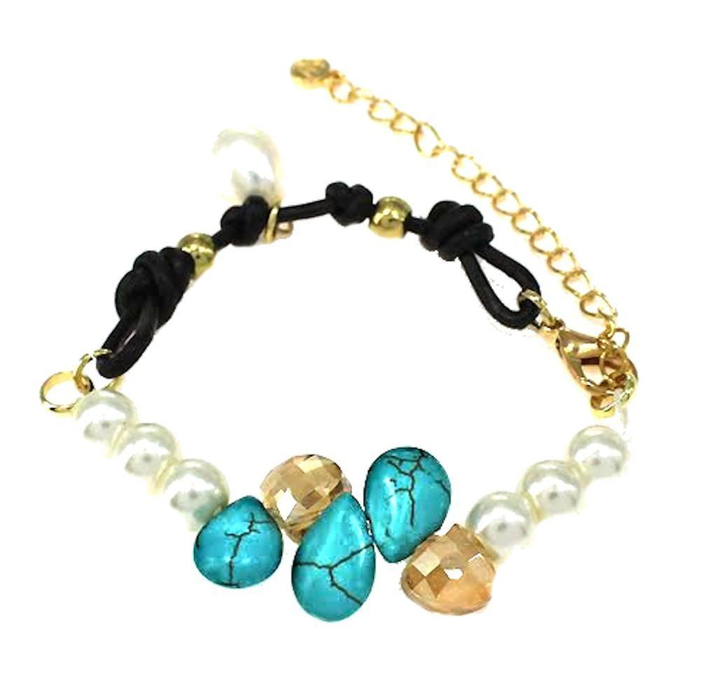 """Bracelet Natural White Pearl, Turquoise & Crytstal Beads Black Cord 7-9"""" WB0768G #Esung #Beaded"""