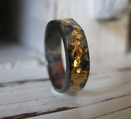 Mens Wedding Band Rustic Gold Oxidized Silver Hot Rox Or Commitment Ring