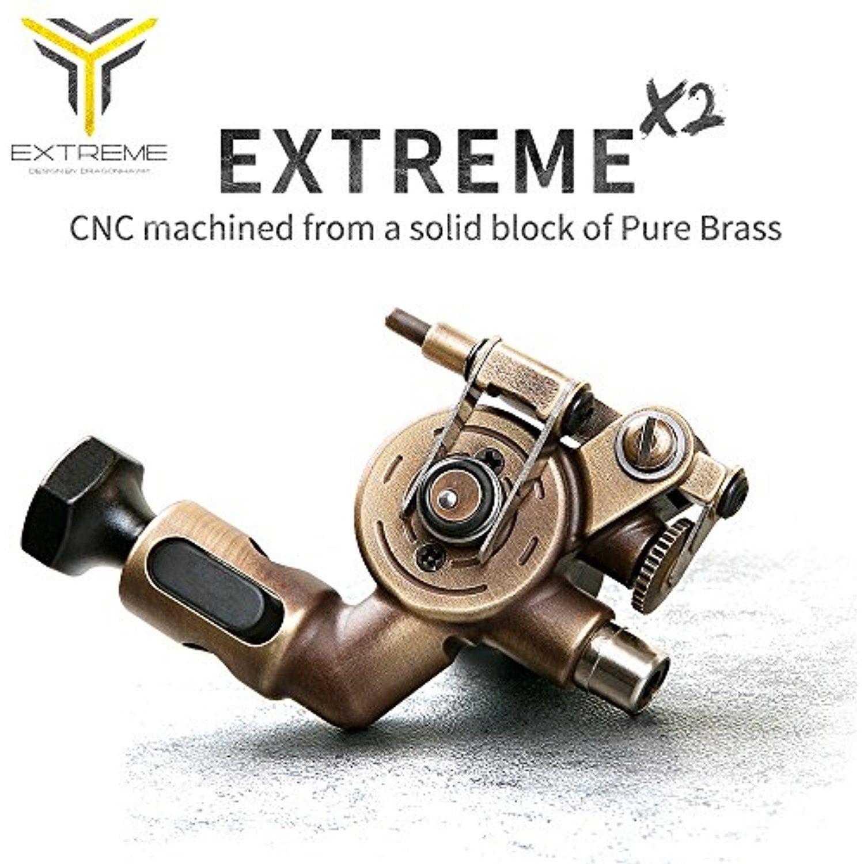 Dragonhawk extreme x2 rotary tattoo machine brass frame