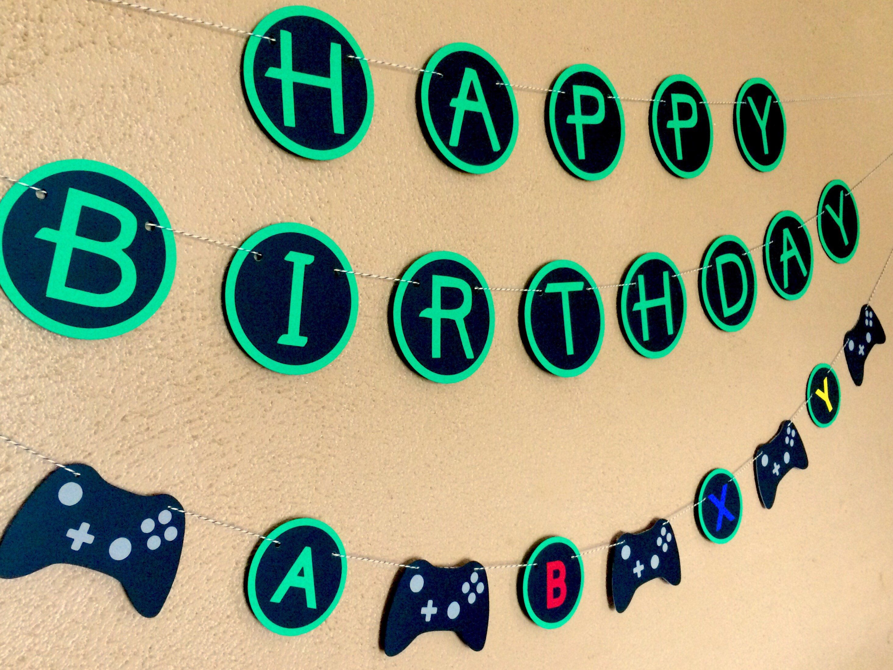 Video Game Birthday Decor Xbox Birthday Party Game Controller Gamer Party Banner Game Truck Party Gaming Party Decoration Game Garland Xbox Birthday Party Video Games Birthday Video Game Party Decorations
