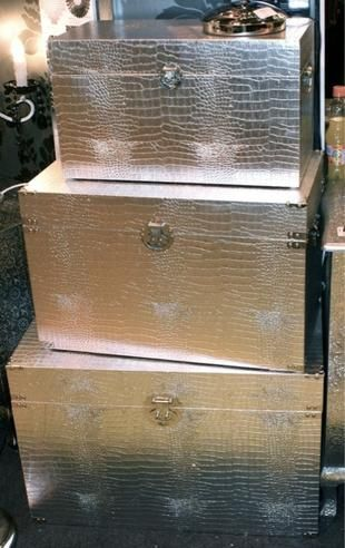 Mock Croc Silver Storage Chests Trunks Set Of 3
