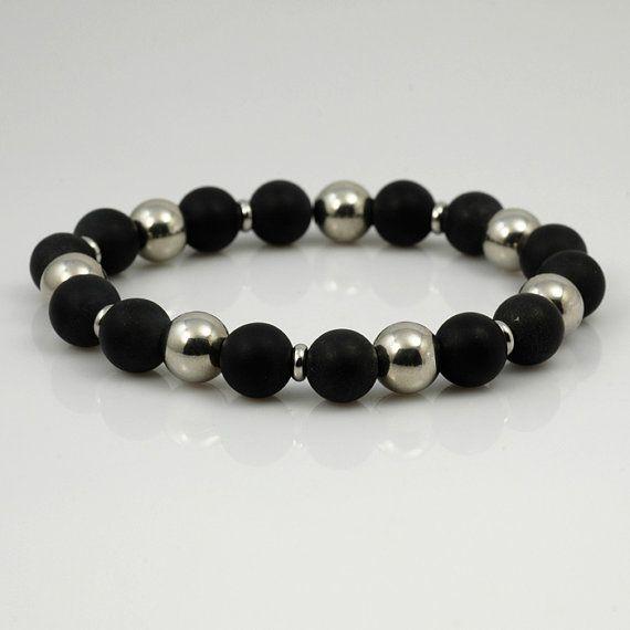 c1ac3f35cd Bracelet élastique en onyx noir mat et acier inoxydable | firavaka ...