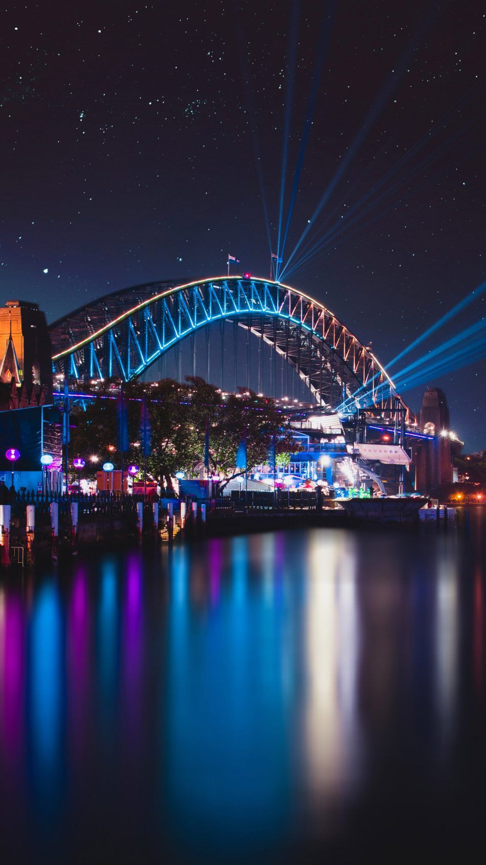 Sydney Harbour Bridge Night Reflections Cityscape Australia