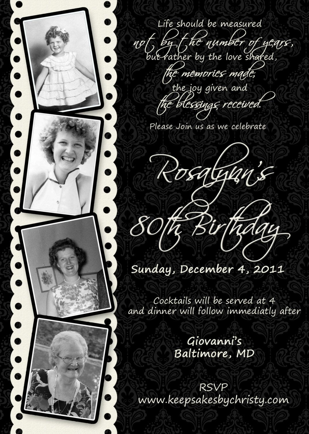 Custom Birthday Invitation 1095 USD Via Etsy My Grandmothers 90th Is In October Time To Start Planning