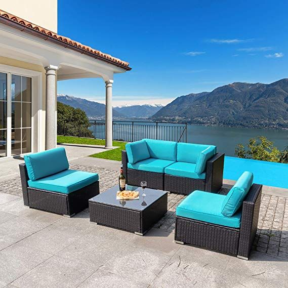 Best Amazon Com Walsunny 5Pcs Patio Outdoor Furniture Sets Low Back All Weather Rattan Sectional Sof 640 x 480