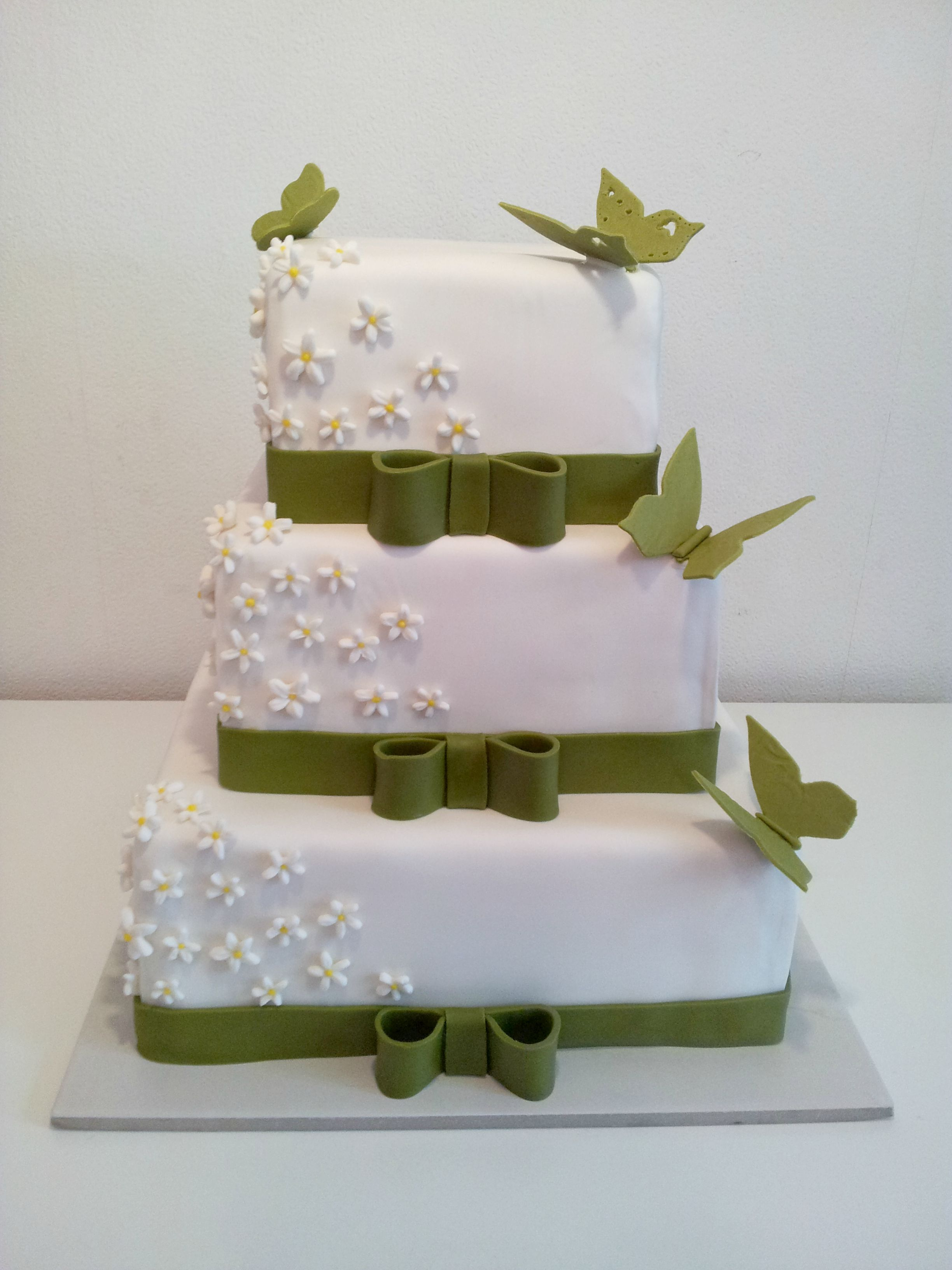 Wedding Cake With Butterflies And Jasmin Flowers