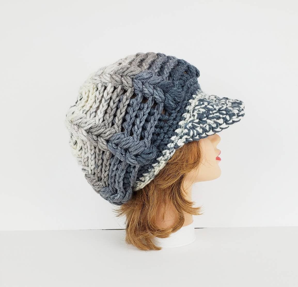 Women S Newsboy Hat Women S Visor Hats Crochet Hats Etsy Crochet Beanie Hat Crochet Newsboy Hat Crochet Hat For Women
