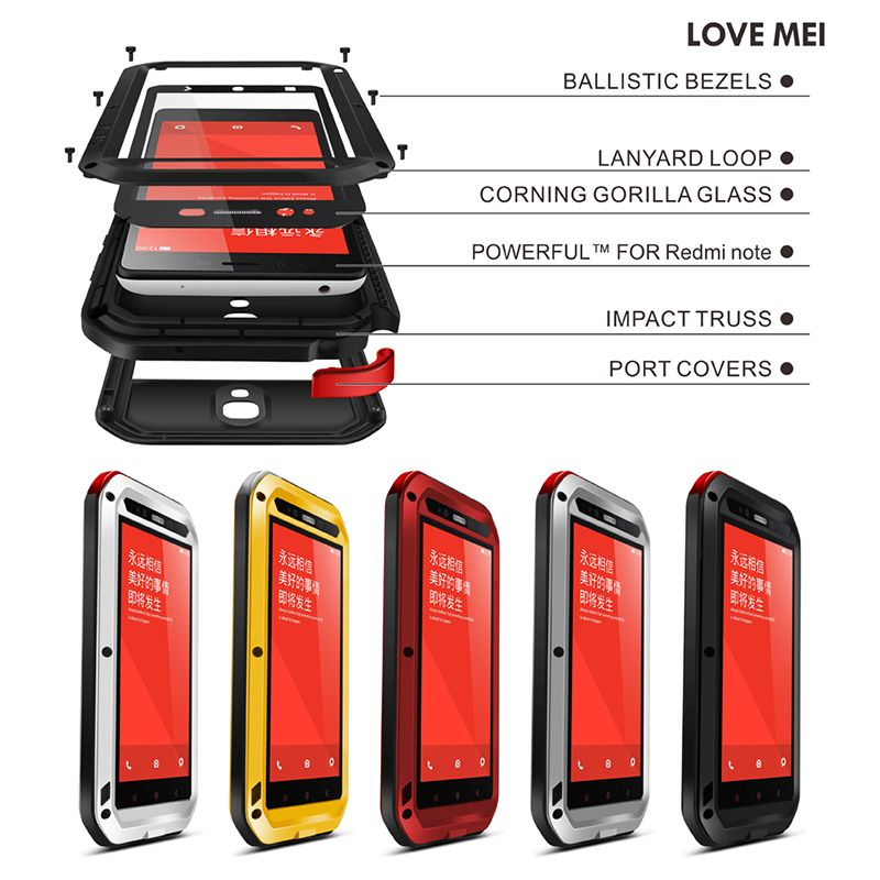 pretty nice be8fd 8c4d6 LOVE MEI Brand Aluminum Metal Case Cover For Xiaomi Redmi Note (5.5 ...