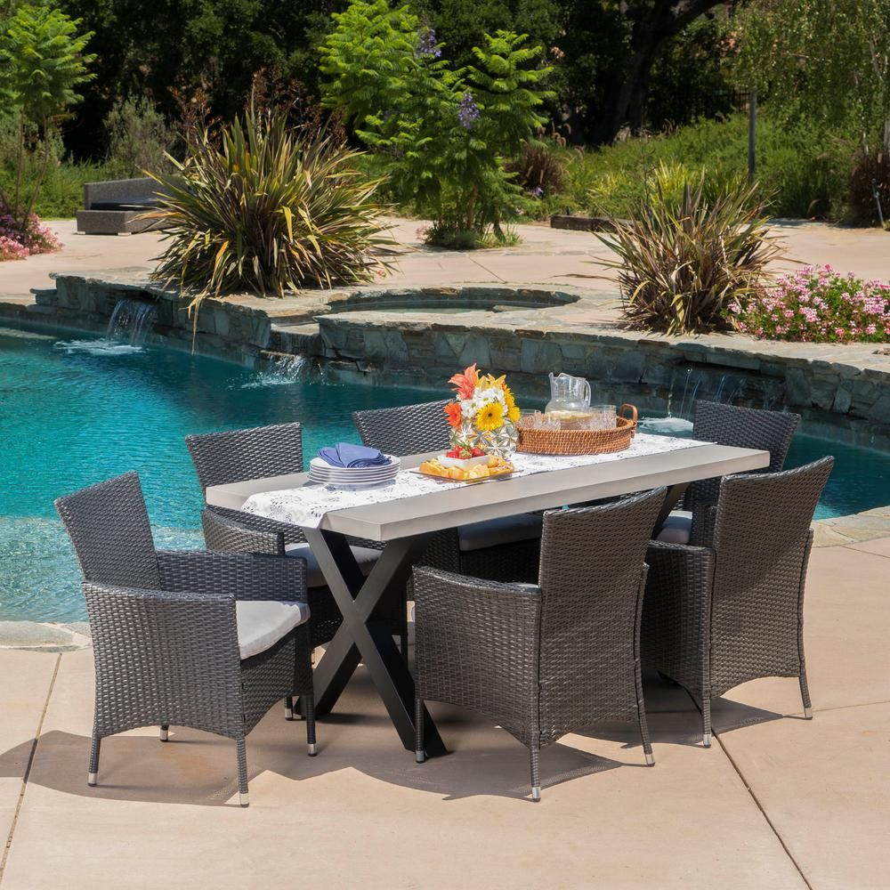 Noble House Black 7 Piece Wicker Rectangular Outdoor Dining Set With Silver Cushion 16540 Outdoor Dining Set Cheap Patio Outdoor Dining