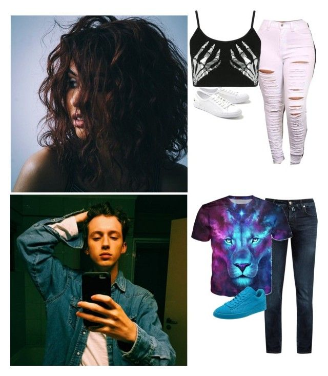 """""""ootd---Cara and Troye"""" by divas-and-champs-anons ❤ liked on Polyvore featuring Jacob CohÃ«n, Boohoo, Lacoste and Puma"""