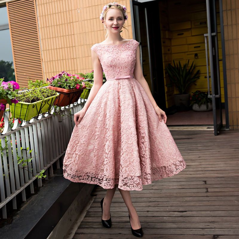Tea Length Formal Ball Party Evening Dress Lace Beads Cocktail Prom ...